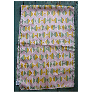 Vintage Vera Big Pink Green Gold Diamond Chevron Print Scarf