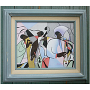 Abstract Jazz Trio Painting on Panel Framed Signed