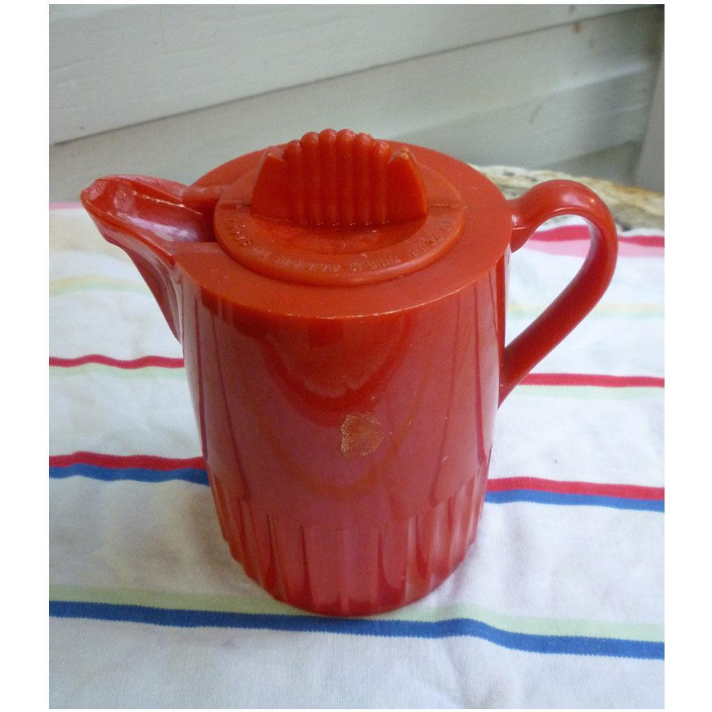 Fun Red Plastic 1950's Thermoplex Insulated Pitcher