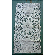 Elaborate Open Work Heavily Hand Embroidered Linen Runner