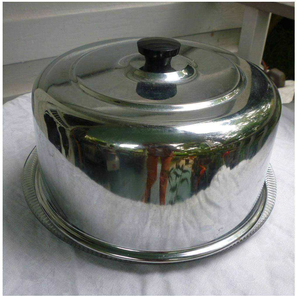 Chrome Top Glass Bottom Cake Plate Saver