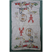 Lobster Pot Seafood Theme Vintage Linen Dish Towel