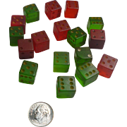 Red and Green Bakelite Dice Set of 17