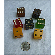 Colorful Bakelite Dice Set of 7