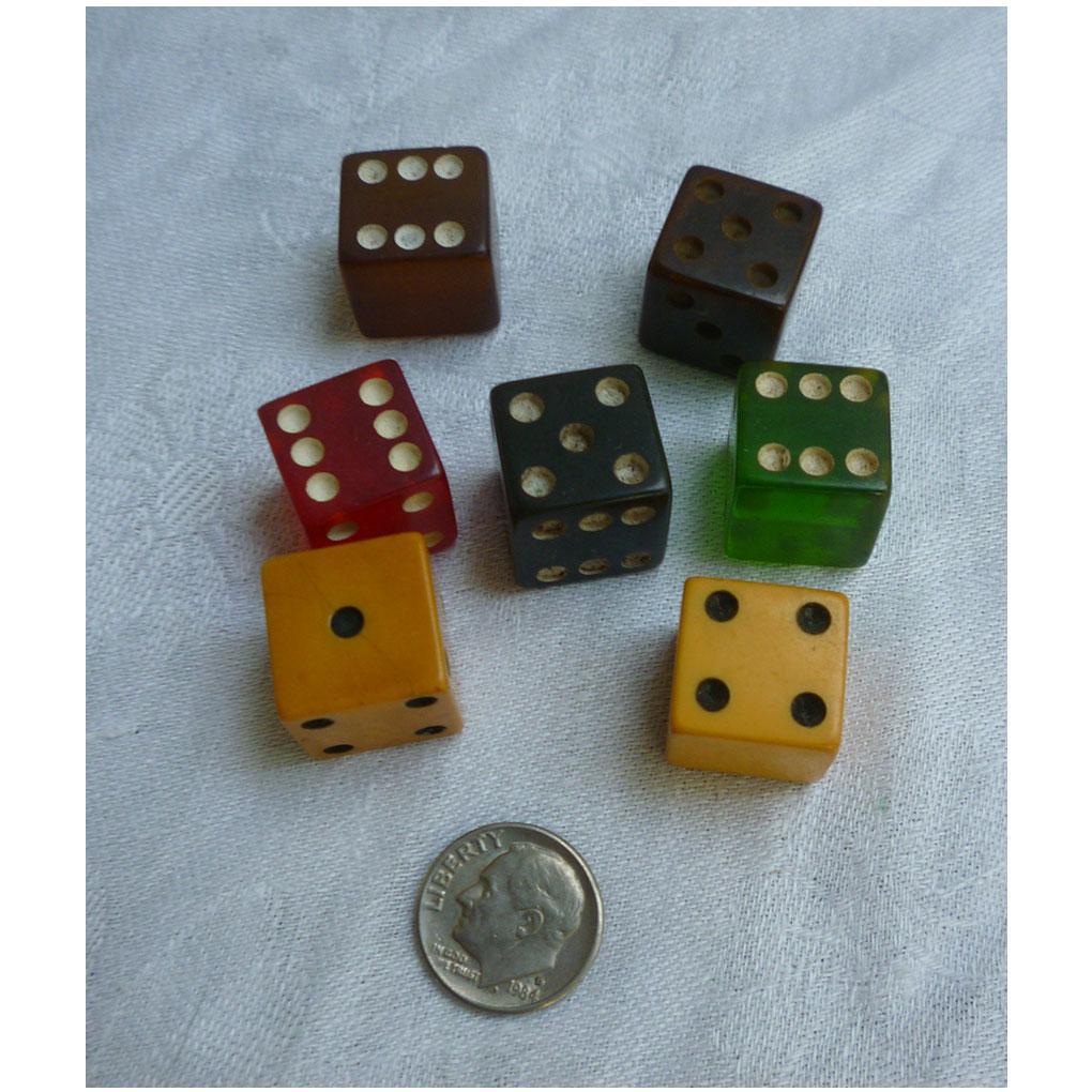 Colorful Bakelite Dice Set of 7