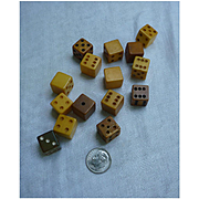 Butterscotch and Cinnamon Bakelite Dice Set of 15