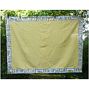 Yellow Center with Kitchen Print Border Vintage Tablecloth