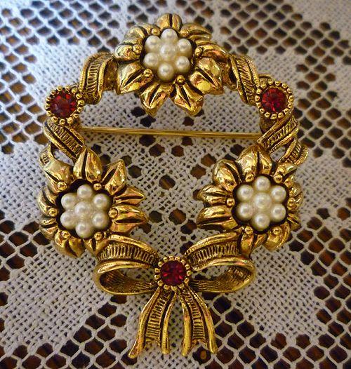 Avon Wreath Brooch Pearls Red Rhinestones Flowers and Ribbons