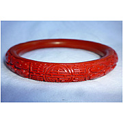 Chinese Red Bakelite Cinnabar Style Bangle Bracelet