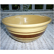 "Weller Yellow Ware Brown Stripe 8"" Mixing Bowl"