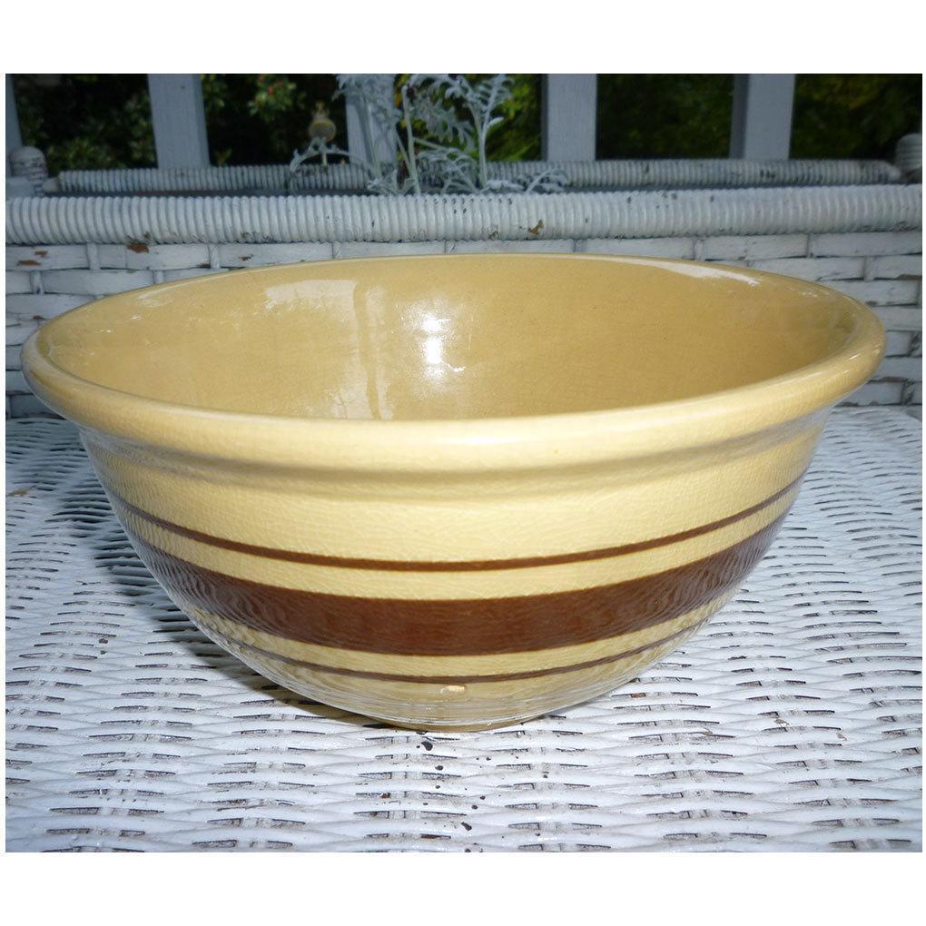 "Weller Yellow Ware Brown Stripe 8"" Mixing Bowl"
