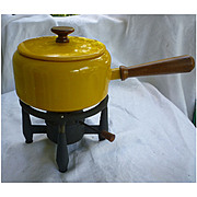 Yellow and White Enamel Danish Modern Fondue Pot with Stand Set