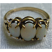 Three Oval Opals 10K Gold Signed Dason Ring