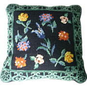 Garden Flowers Wool Needlepoint Pillow