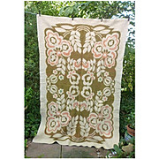 Flowers Leaves and Pods Reversible Woven Plush Vintage Wool Blanket