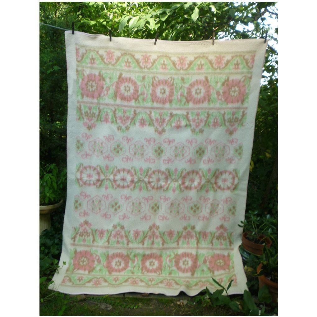Soft Pink Green Flowers Reversible Woven Plush Vintage Wool Blanket