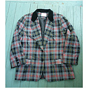 Pendleton Tartan Ladies Dressy Jacket Black Velvet Collar