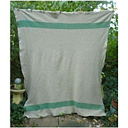 Green Stripe and Taupe Woven Vintage Wool Camp Blanket