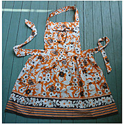 Brown Orange and White Flowers Vintage Full Apron