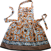 Brown Orange and White Flowers Vintage Full Apron