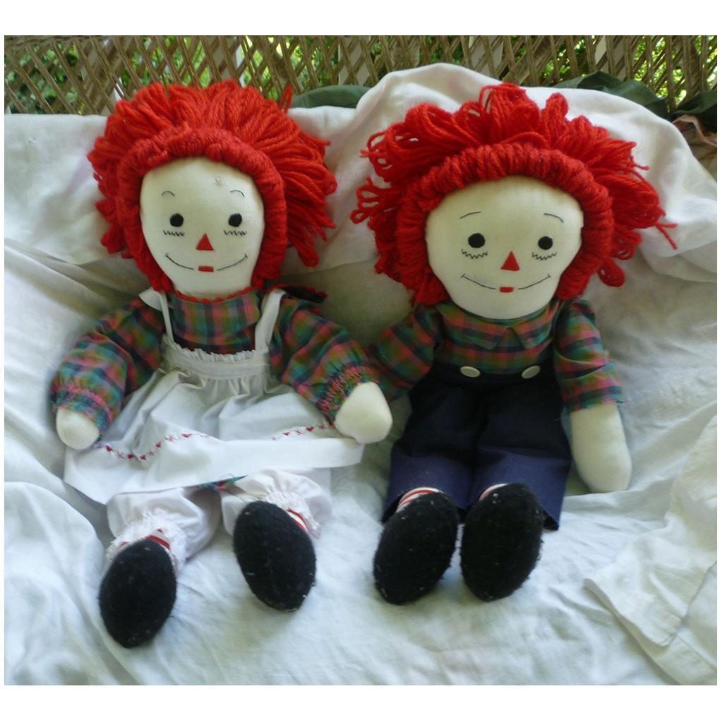 Sweet Large Handmade Vintage Raggedy Ann and Andy Dolls