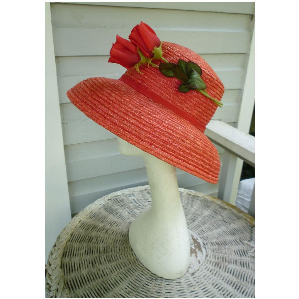 Betmar Red Straw and Roses Vintage Hat