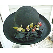 Elaborate Bows and Berries Trim Vintage Kathy Jeanne Wool Hat