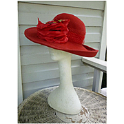 Red Silk Roses and Netting Red Wool Hat Jeanne Marie MWT