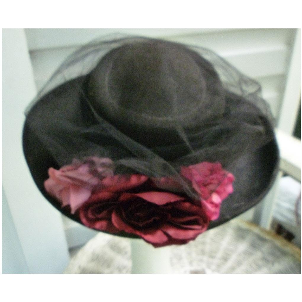 Three Large Elegant Flowers and Netting Trim Vintage Black Wool Hat
