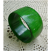 Super Wide Gorgeous Green Chunky Lucite Bangle Bracelet
