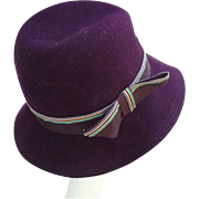 Mr K Purple Sleek Ribbon Trim Vintage Wool Felt Hat