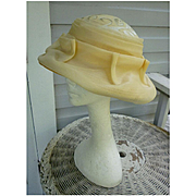 Ophelie Straw Covered with Sheer Cream Fabric Vintage Hat
