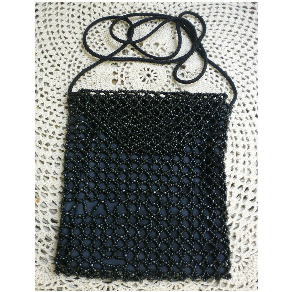 Laura Ashley Black Beaded Evening Purse Long Shoulder Strap