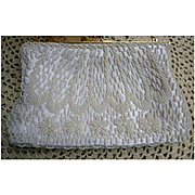 Sparkling Beaded White Satin Evening Bag Cascade Arches and Flowers Pattern