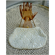 Sparkling Beaded White Satin Evening Bag Diagonal Rows and Flowers Pattern