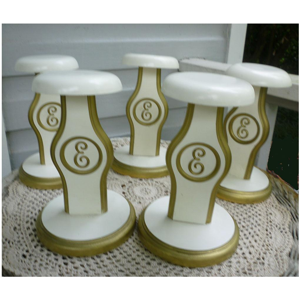 Shabby Chic Cream and Golden Monogram E Hat Stands Set of 5