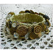 Vintage Buttons Bracelet on Gold Lame Band