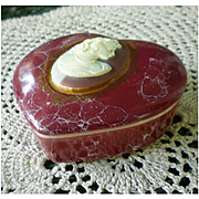 Mount Clemens Pottery Cameo Heart Trinket Box