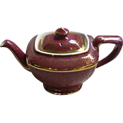 Hall Maroon and Gold Hollywood Tea Pot 6 Cup With Lid