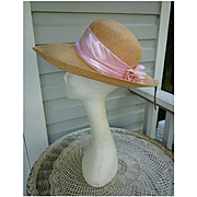 Scala Pink Straw Satin and Flower Trim Vintage Hat MWT