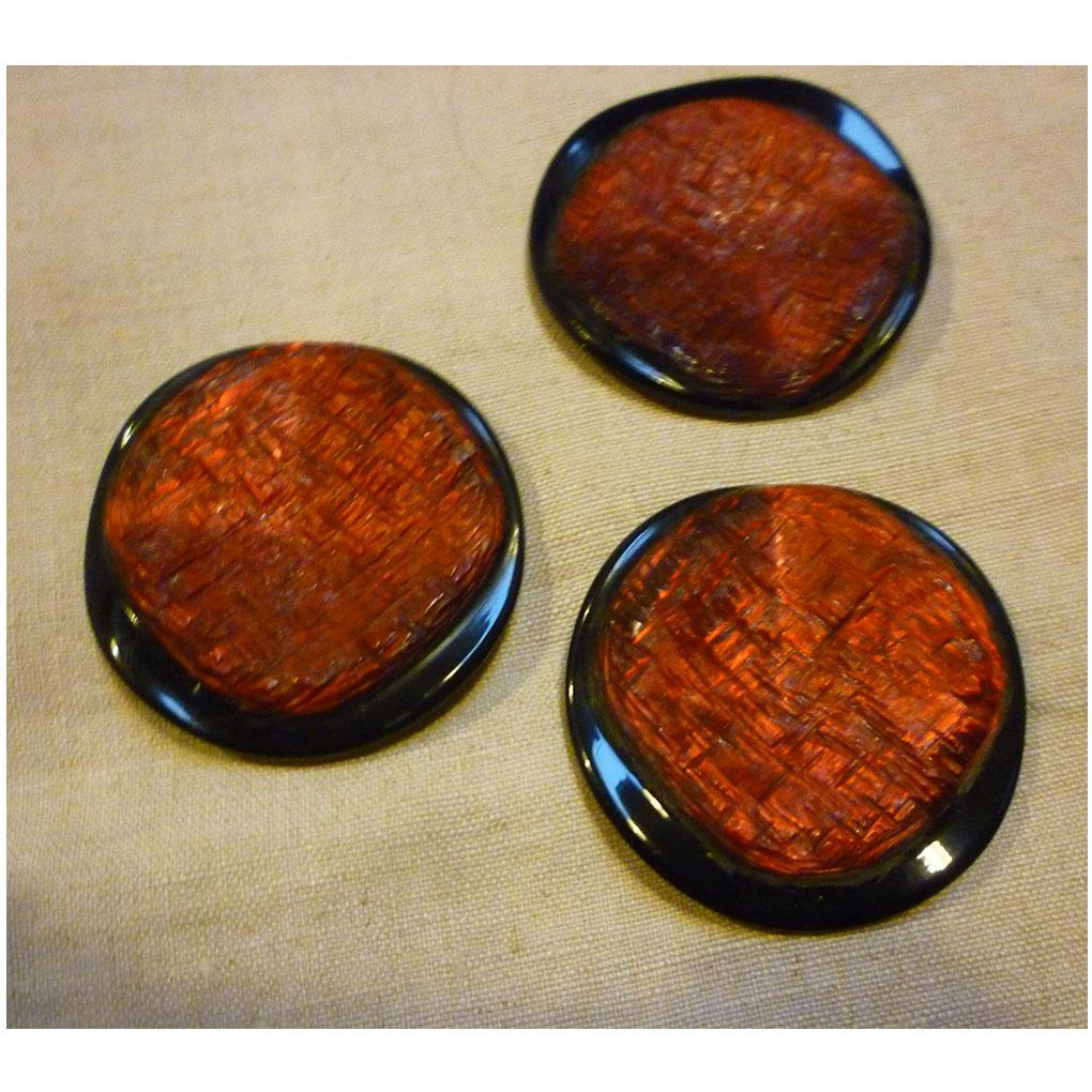 Huge and Fabulous Red and Black Mid-Century Modern Buttons