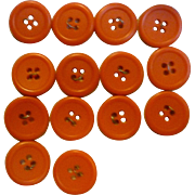 14 Red Round Vintage Buttons