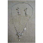 Elaborate Eisenberg Silver Clear Rhinestone Demi-Parure Necklace and Earrings