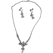 Elaborate Eisenberg Silver Clear Rhinestone Demi-Parure Necklace and Earrings