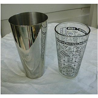 Boston Shaker Cocktail Set Recipes Glass Stainless Steel Federal Glass Vintage 1950s Barware