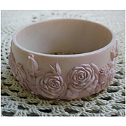 Sweet Pink Carved Roses Large Bangle Bracelet