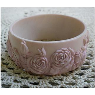 Sweet Pink Carved Roses Large Bangle Bracelet