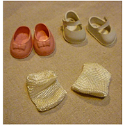 Set of Two Pairs Doll Shoes and a Pair of Socks Wendykins Size