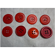 8 Red Plastic Round Vintage Buttons