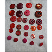 Great Group Red Maroon and Rose Vintage Buttons
